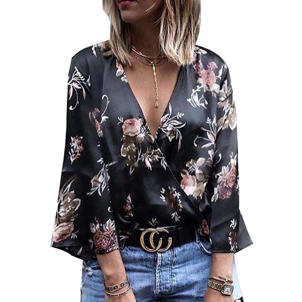 Floral Printed Black Tops Deep V-Neck Flared Sleeve Sexy Women Blouses 2017 Slim Elegant Wrap Blusas Mujer Vintage Office Shirts