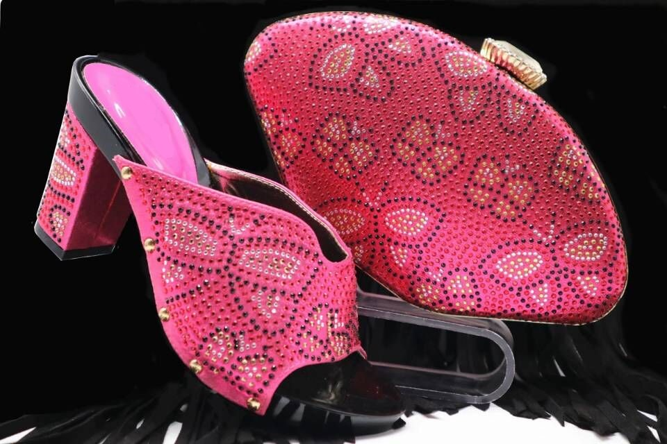 Gorgeous fuchsia women pumps and bag set with rhinestone decoration african shoes match handbag for dress X39,heel 8CM