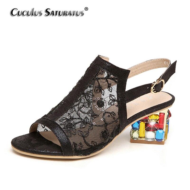 Cuculus 2018 New Summer Wedge Heels Women Sandals Open Toe Fish Head Platform Shoes High Heels Slingbacks Women Shoes X903 цена и фото