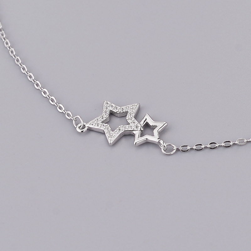 925 Sterling Silver Jewelry Temperament Aesthetic Small Stars Zircon Pendant Necklace Anti-allergic drop shipping