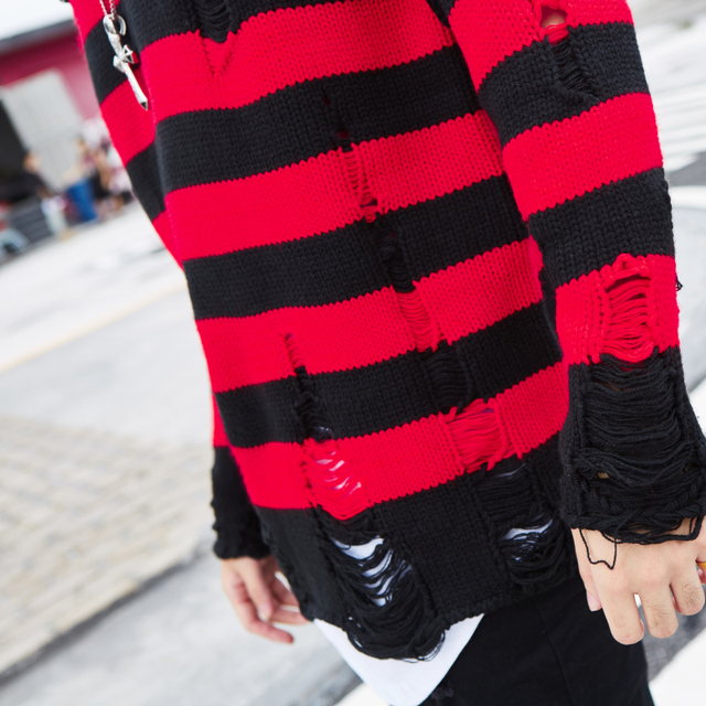 Black Red Striped Hole Knit Sweaters Autumn Winter Sweater Fashion Loose Long Paragraph Oversized Men Women All-match Clothing 1