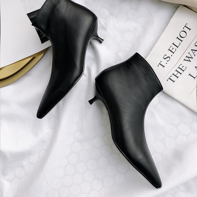 Cremallera Invierno Piel Tobillo Femenina Mujeres negro Altos Lana Cuero Zapatos Botas Beige De Calidad Genuino Tacones Vaca Salu 7fq5Zdwx7