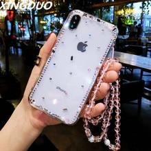 XINGDUO Luxury Bling Rhinestone Diamond Transparent Soft TPU Case Cover for iphone X XS XR MAX 5 5S 6 7 8 Plus Apple shell