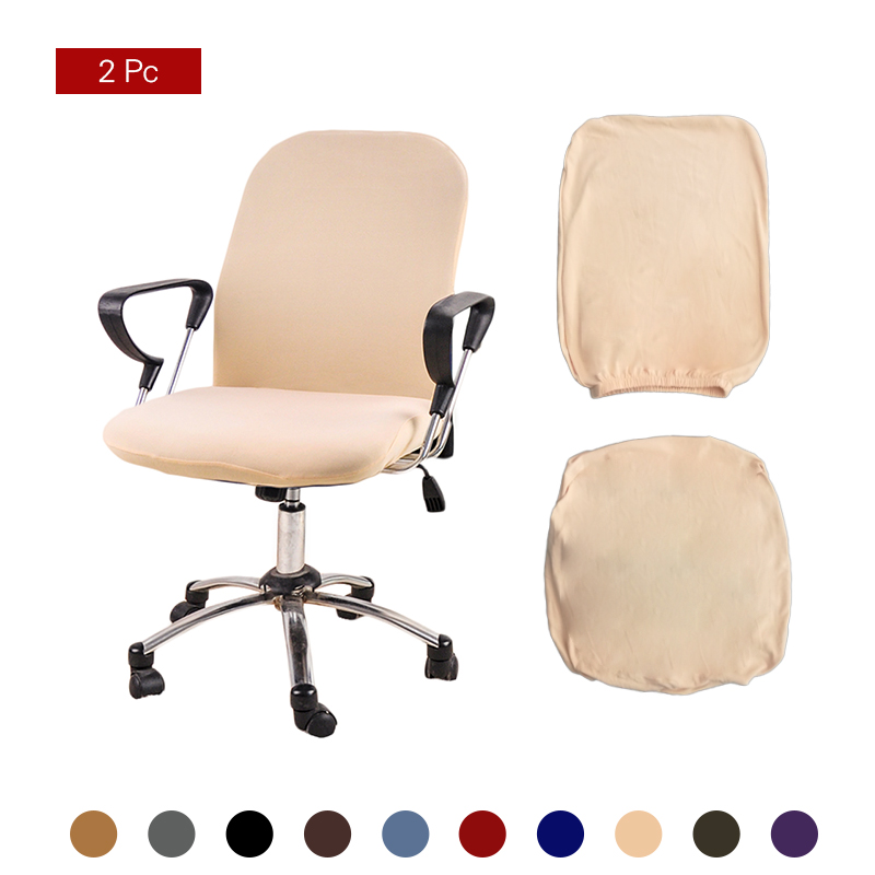 Forcheer Office Chair Cover Solid Computer Chair Cover Spandex Stretch Armchair Seat Case 2 Pieces Removable