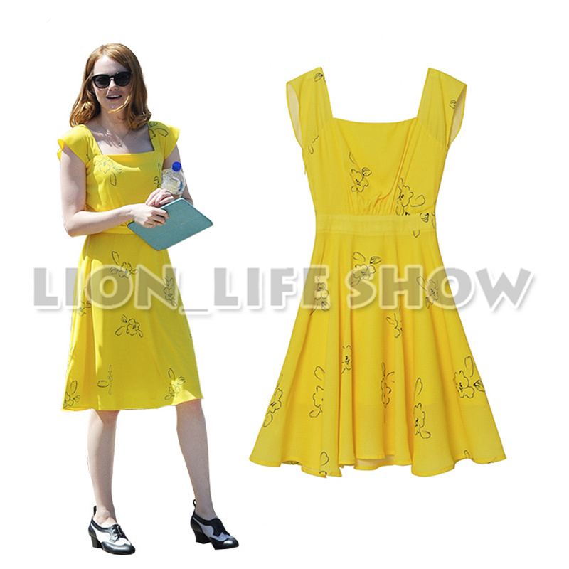 la la land Emma Stone Mia Short Sleeve Summer Yellow Backless dress Women Vintage Long Dresses Printed Flowers Cosplay Costume