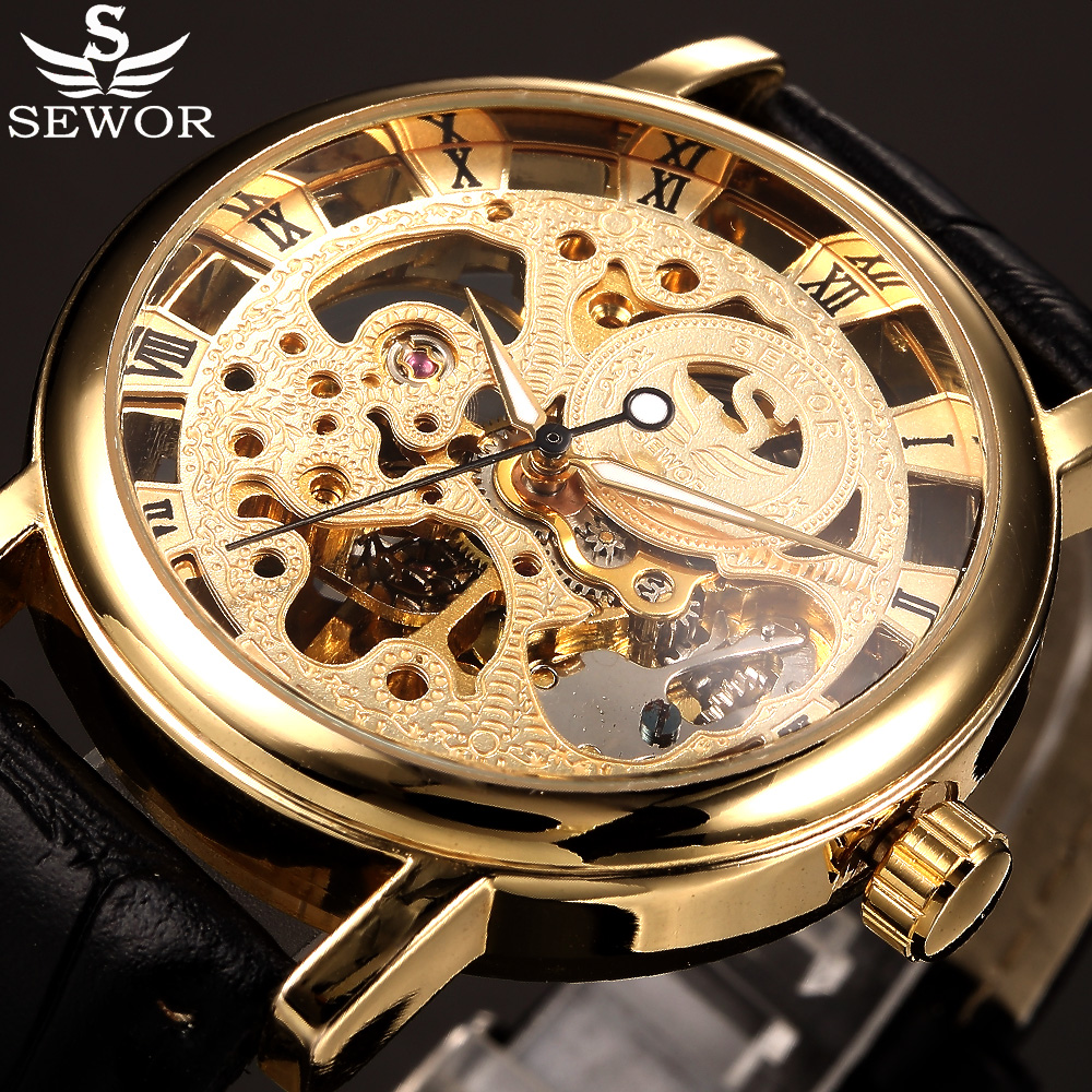 SEWOR Skeleton Mechanical Watch Men Stainless Steel Case Leather Strap Analog Male Clock Men Wristwatches Casual Watch Relogio 2016 sewor fashion mechanical hand wind men wristwatches steel thin case transparent skeleton leather strap male military watch