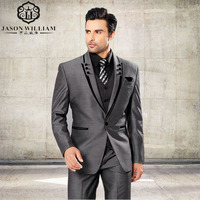 LN077 Men Suits Slim Fit Peaked Lapel Tuxedos Grey Wedding Suits With Black Lapel For Men