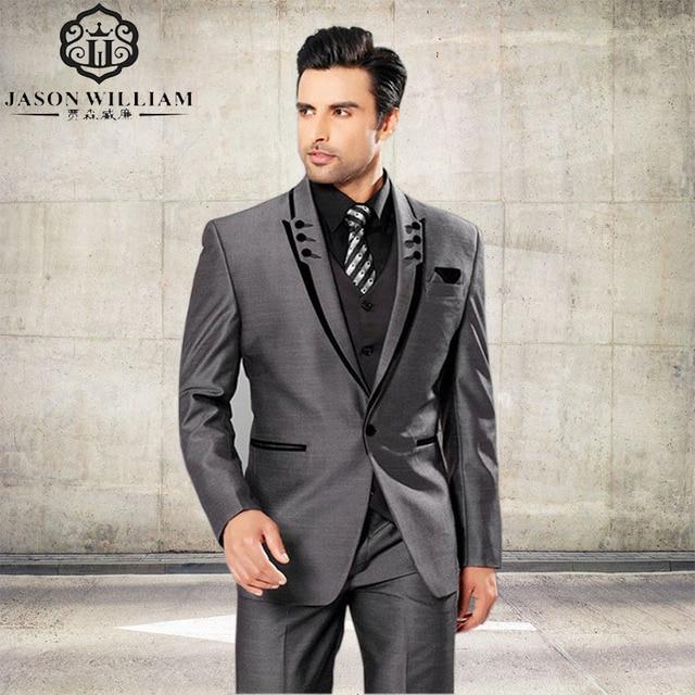 LN077 Men Suits Slim Fit Peaked Lapel Tuxedos Grey Wedding Suits ...