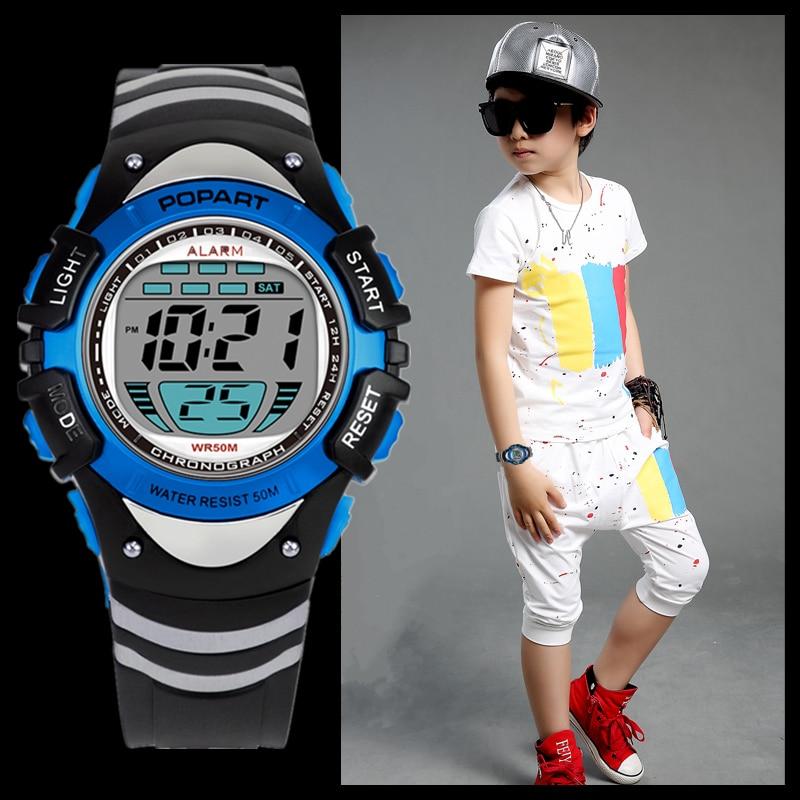 POPART Children Watch 7-Colored Back Light Stopwatch 50m Waterproof Digital Sport Wrist Watch Child Clock Kids Watches Boys Blue цена и фото