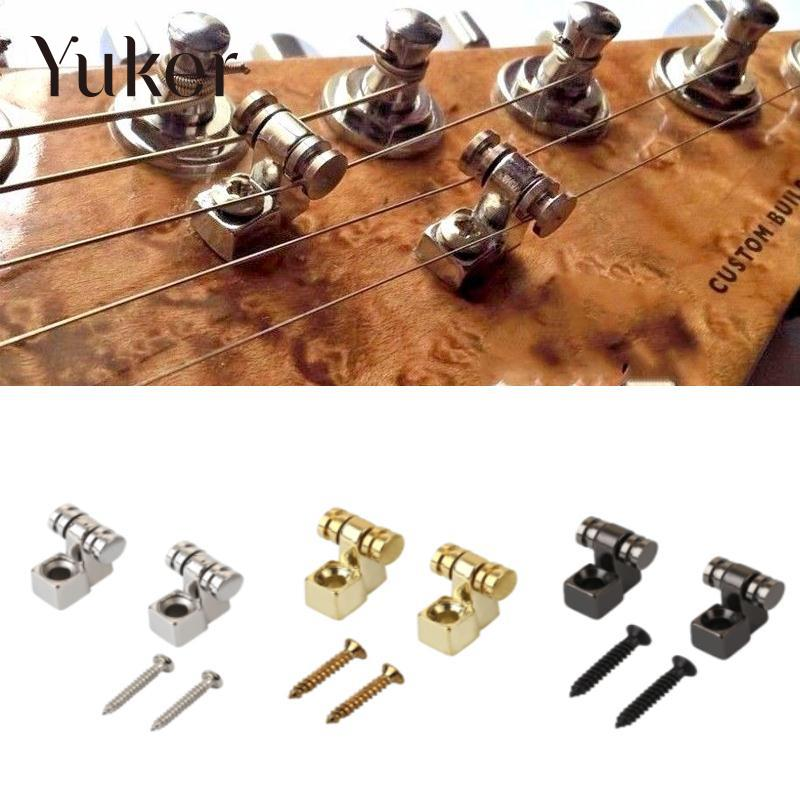 Yuker 2Pcs Electric Guitars Roller String Trees Retainer Mounting Tree Guide Electric Guitar Parts Replacement Accessories
