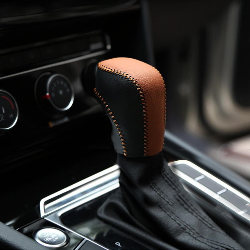For VW Volkswagen Polo Tiguan Golf 5 6 7 mk7 Passat B5 B6 B7 CC Jetta AT Automatic Hand-stitched Leather Gear Shift Knob Cover