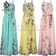 Plus Size S-6XL 2019 Summer New Womens Long Dresses Beach Floral Print Boho Maxi Dress With Sashes Women Clothing D86001L