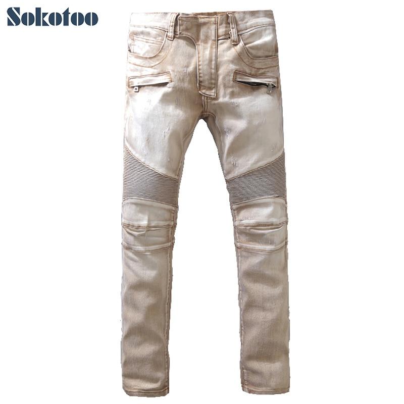 Sokotoo Men's casual light brown stretch denim biker   jeans   Patchwork slim skinny pencil pants Long trousers