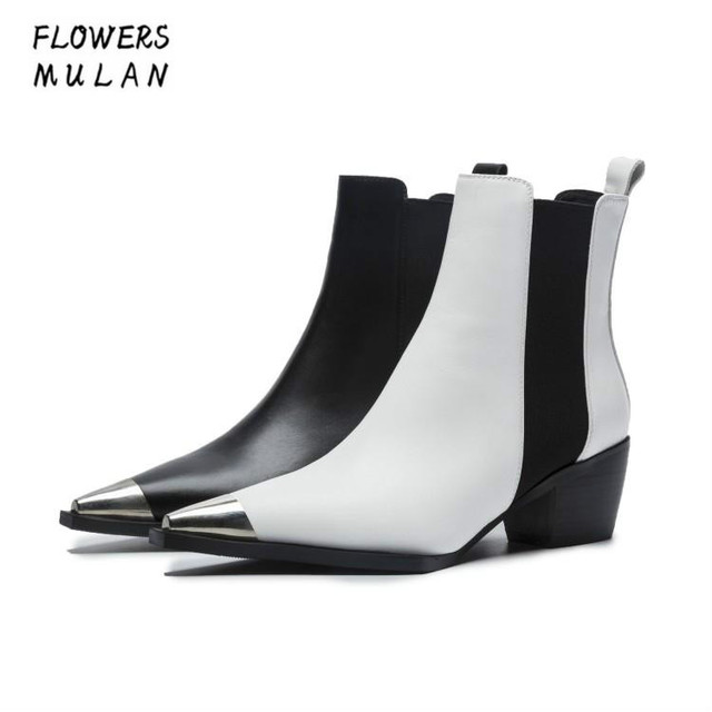 New Designers Winter 2018 Women Ankle Boots Silver Metallic Toe Low Chunky  Heel Chelsea Boots Black White Leather Shoes Lady 718f76588b40