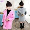 3-15Y 2016 resorte y del otoño de las muchachas del estilo niños de la capa de lana abrigos encapuchados ropa de abrigo Hairball niños Parka chaquetas prendas de vestir exteriores ropa