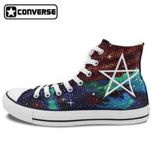 High Top Sneakers Men Brand Converse All Star Colorful Galaxy Shoe Milky Way Five-Pointed Star Hand Painted Canvas Shoes