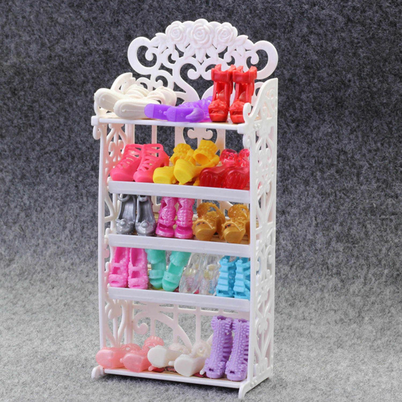 Дети Мини кукла обувь стойки DIY белый выдалбливают обувь на высоком каблуке кабинет кукольный домик мебель аксессуары для Барби Куклы Игрушка