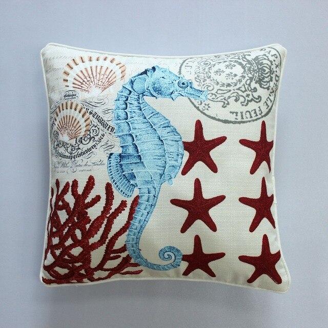VEZO HOME Printed Sea Horse Sofa Cushions Red Coral Starfish Throw Pillows Case Seat Chair Home