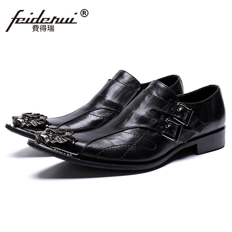 Black Pointed Toe Man Formal Dress Footwear Genuine Leather Metal Tipped Flats Monk Straps Men s