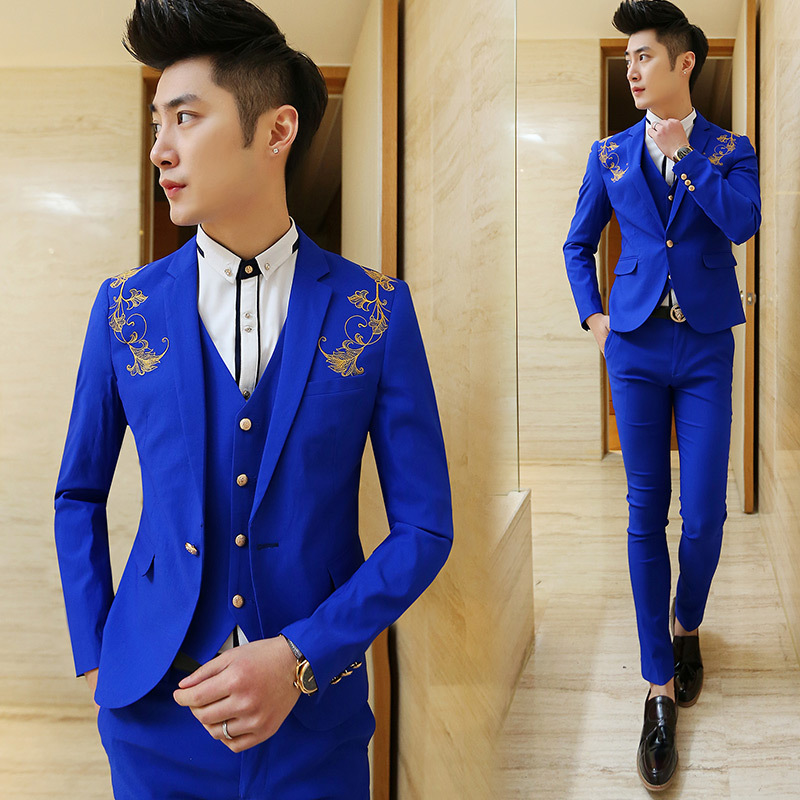 Aliexpress.com : Buy 2015 Luxury Gold Embroidered White Men Suit ...