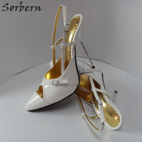 Sorbern Size 33 52 Women Slingbacks Shoes Pointed Toe Stilettos Metal Heels 14Cm Silver Heel Prom Shoes Size 33 Womans Shoes