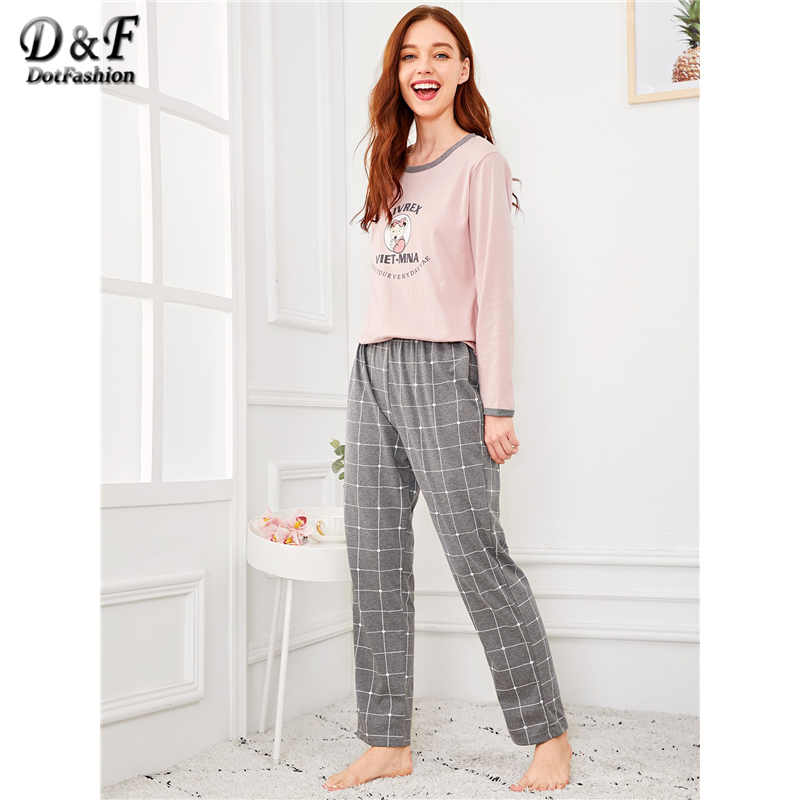 Dotfashion Cartoon Bear Letter Plaid   Pajama     Set   Women Autumn 2019 Clothing Casual Long Sleeve Nightwear Womens Spring Loungewear