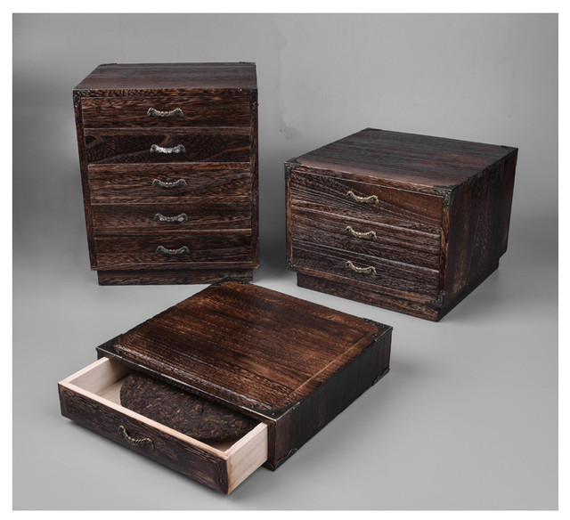 High Quality Japanese Furniture Wood Tea Box Storage Cabinet Paulownia Wood 3 Design Tea  Storage Box Container For