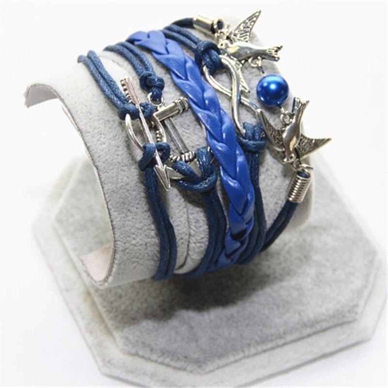 L0204 New Hot 2016 Popular Multilayer Braided Bracelets Vintage Bird Arrowhead Multicolor Woven Leather Bracelet Bangle girl  -  BILL JEWELRY CO,.LTD Min order $8 store