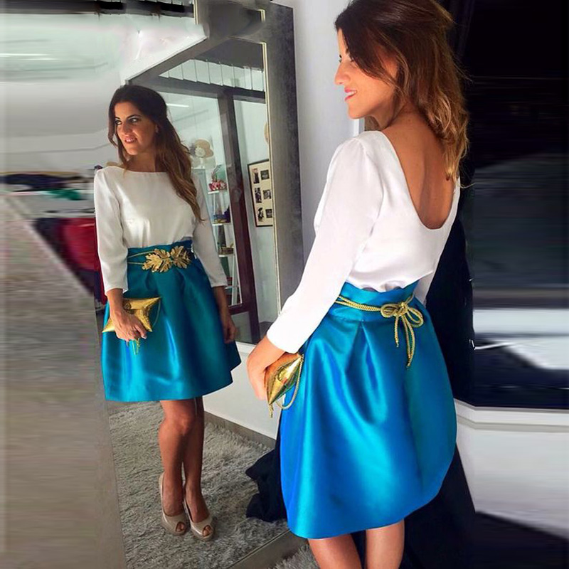 Trendy Satin 2017 Mini Skirt High Waist Above Knee Pleat Satin Skirt For Women Personalized Fashion Blue Short Midi Skirt Custom image