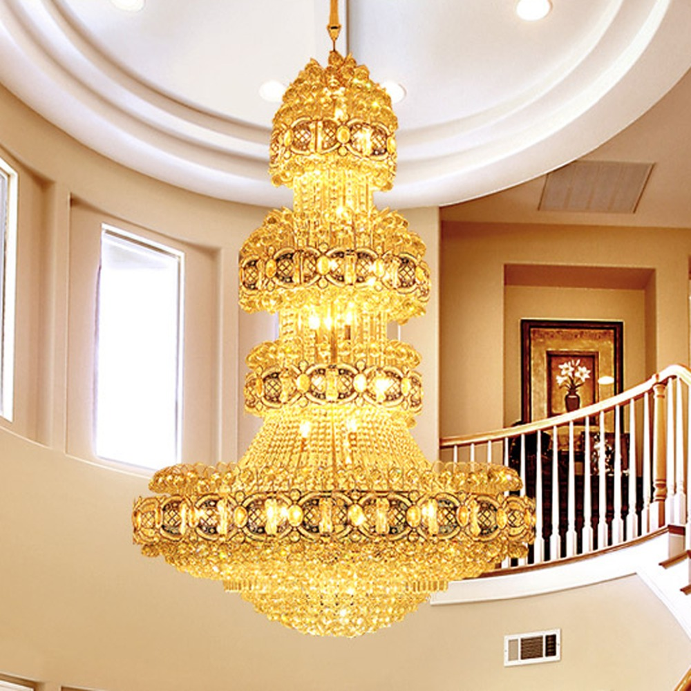 Gold Crystal Chandelier Lighting Fixture Modern Crystal Chandeliers LED Light Droplights Clubs Hotel Hall Lobby Hanging Lamp