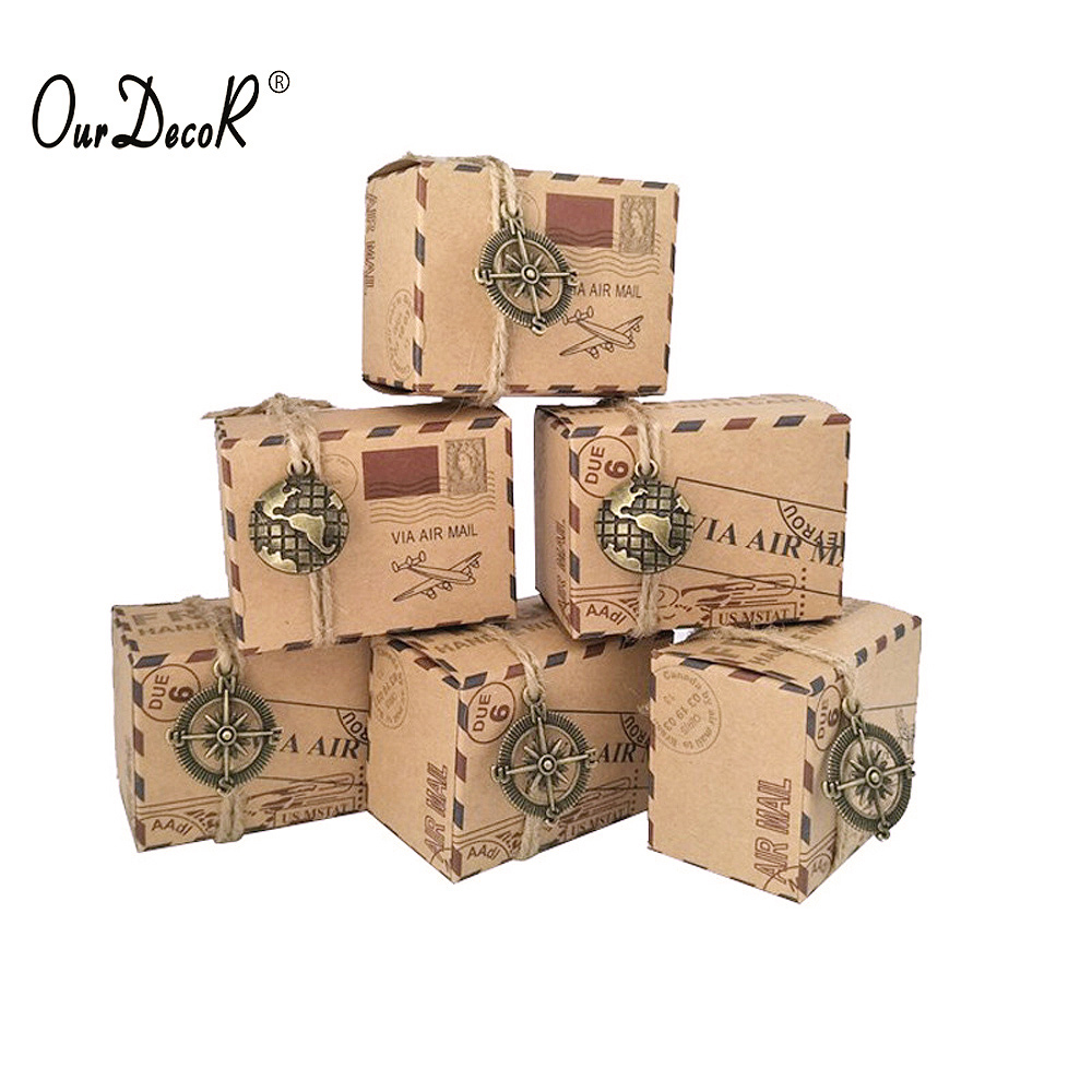 10 pcs Vintage Favors Kraft Paper Candy Box Travel Theme Airplane Air Mail Gift Packaging Boxes Wedding Souvenirs scatole regalo