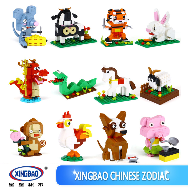 Animal Blocks lovely Dog rabbit Pig Dragon Set Model Building Blocks Compatible Legoings Duploes Children DIY Toy Christmas Gift wl mini blocks captain america animal fruit intelligence model building nanoblock diy cute party supplies toy