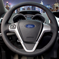 Hand-stitched Black Leather Car Steering Wheel Cover for  Ford Fiesta 2008-2013