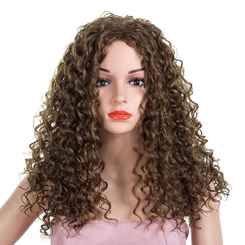 Synthetic None-lacewigs Gres Curly Brown/black Women Wigs High Temperature Fiber Long Lady Synthetic Hair Pieces Afro Puffy Headgear