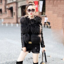 Autumn Winter Women's Genuine Real Sheep Leather Jackets with Natural Raccoon Fur Sheepskin Sleeve Lady Short Coats Female Cloth