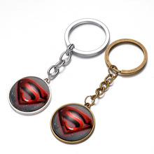 Super Hero Superman Logo Pendant Key Chain Ring Metal Avengers Action Figures Toys Gife For Friend