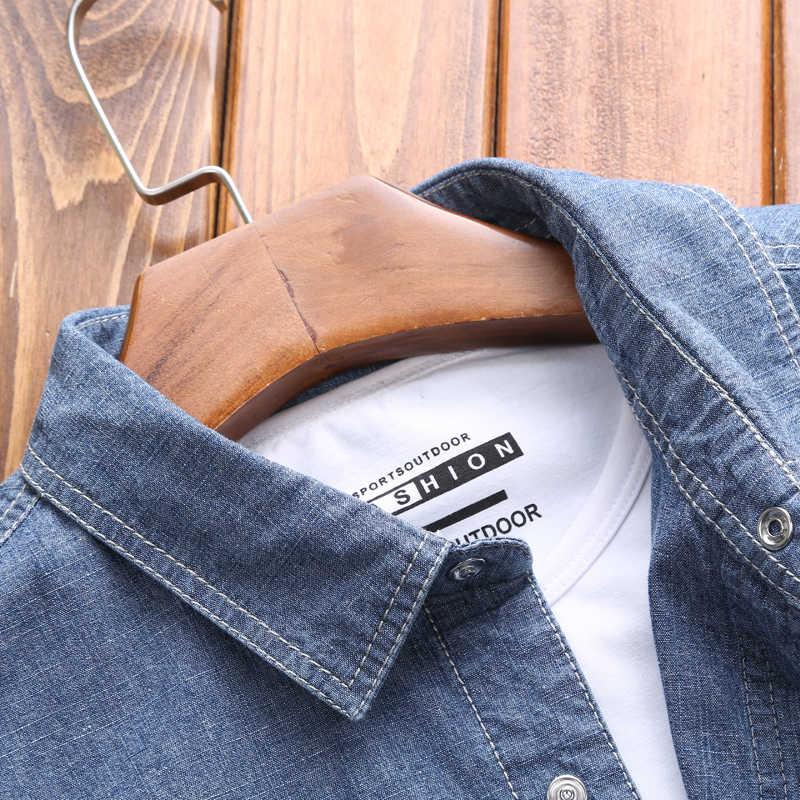 Mannen Outdoor 5XL Plus Size Ademend Shirts Nieuwe Denim Lente Herfst Lange Mouwen Klassieke Britse Stijl Sport Kleding