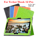 Tbook 12 Pro Leather Case 12.2 дюймов PU Цветок Печати Тонкий смарт Tablet Case Чехол Для Teclast Tbook 12 pro Защитный Стенд Shell