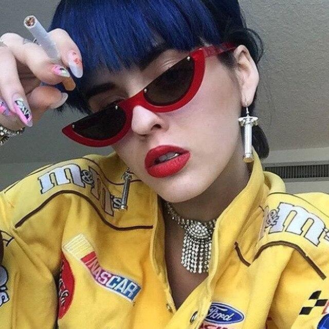 Крутые модные полуоправы без оправы кошачий глаз солнцезащитные очки женские 2017 Модные прозрачные брендовые дизайнерские солнцезащитные очки для женщин Oculos de sol