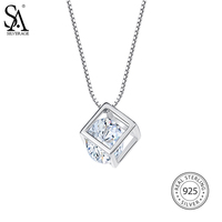 SA SILVERAGE Real 925 Sterling Silver Square Necklaces Pendants For Women Fine Jewelry Geometry 925 Sterling