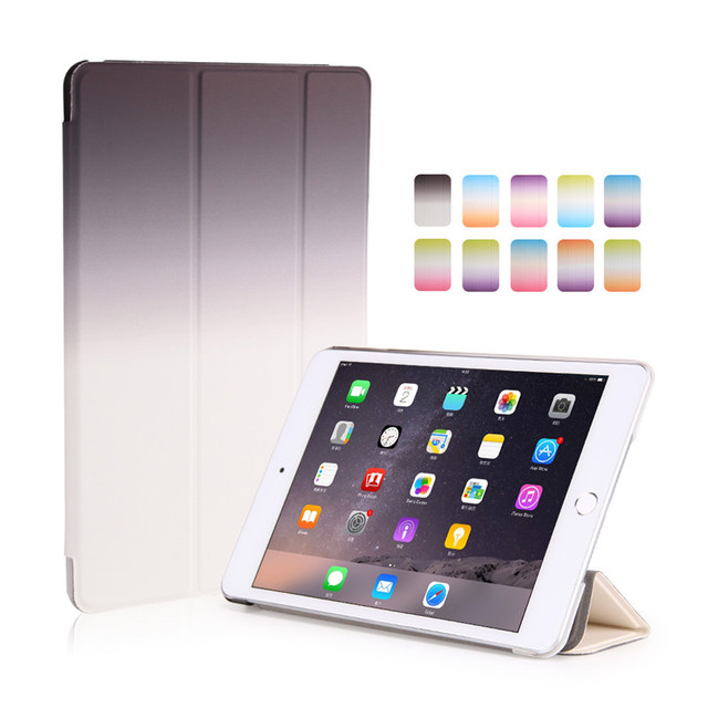 for ipad air2 case rainbow gradient 9.0inch smart auto sleep pu leather magnetic with pc back shell for ipad air 2