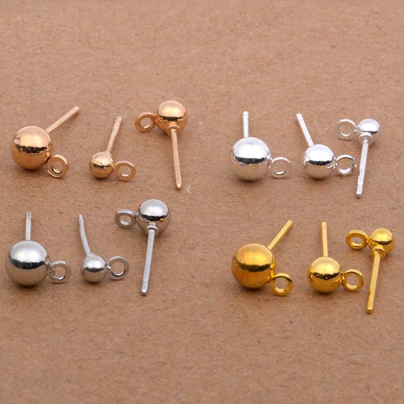 20 Pcs 3 MM 4 MM 5 MM מתכת צבע רודיום זהב כסף Kc זהב כדור עגיל הרבעה עם קפיצת טבעת Diy פין עגילי חלקי אבזרים