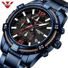 NIBOSI relojes de cuarzo para hombre, reloj de pulsera deportivo Masculino, resistente al agua, con calendario, esfera grande militar