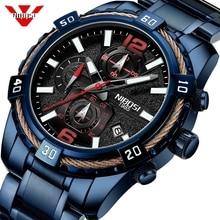 Часы наручные NIBOSI Мужские кварцевые, брендовые Роскошные водонепроницаемые спортивные в стиле милитари, с календарем и большим циферблатом