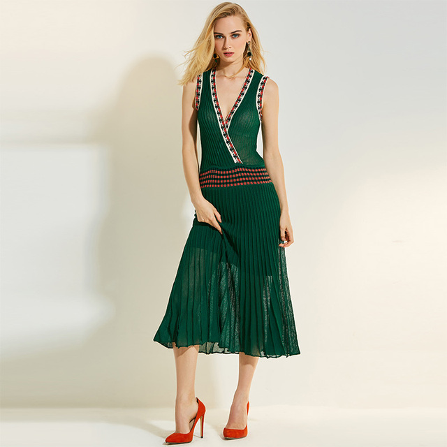 Sisjuly Summer dress women Deep v neck sleeveless plain chiffon dress Pullover 2017 fashion dress girls causal Mid -calf Green