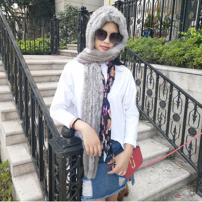 Street Fashion Women Knitted Genuine Rabbit Fur Scarf Hats Winter Warm Real Fur Wraps Soft Fur Hats Real Fur Caps