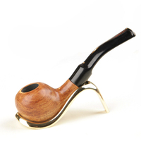 Manual Rosewood Pipes 9mm Activated Carbon Double Filter Core Solid Wood Smoking Pipe Herb Tobacco Pipe