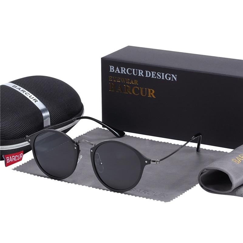 BARCUR Aluminum Vintage Sunglasses for Men Round Sunglasses Men Retro Glasses Male Famle Sun glasses retro oculos masculino 9