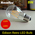 E27 E26 8W LED Filament Bulb Bombillas Led AC110V 220V COB LED Bulb Edison Christmas Lights Home Lighting Ultra Bright