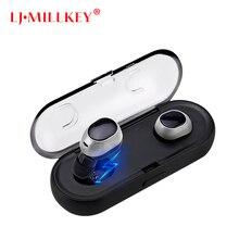 Mais novo Gêmeos Verdadeiro TWS Fones de Ouvido Sem Fio fone de Ouvido Estéreo Fones de Ouvido Sem Fio Mini Bluetooth Com Caso De Carregamento LJ-MILLKEY YZ123